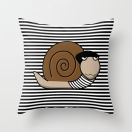 French Snail ~ Escargot Throw Pillow