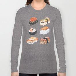 Sushi Persian Cat Watercolor Long Sleeve T-shirt