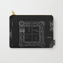 Monopoly: Original Patent Drawing - White on Black Carry-All Pouch