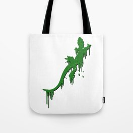 Distressed Green Salamander With Paint Drip Tote Bag