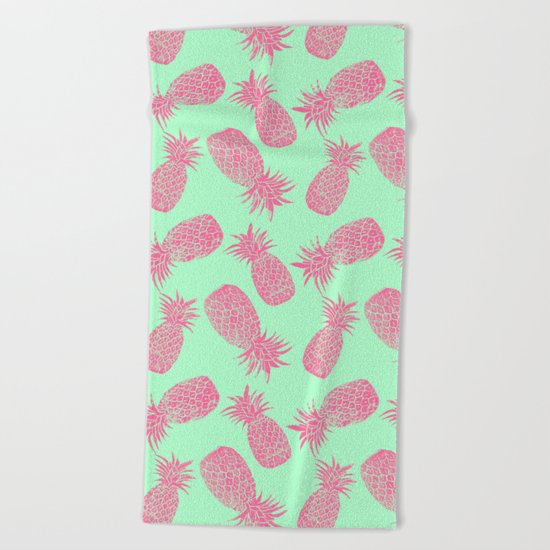 Pineapple Pattern - Mint & Crimson Beach Towel