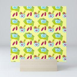 Beach design pattern with beach bags Mini Art Print