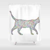 cat coquillette Shower Curtains featuring Cat by David Zydd
