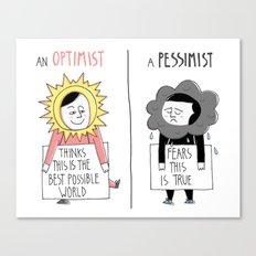 Optimist Vs Pessimist Canvas Print