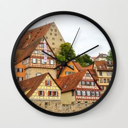 Traditional medieval German houses Wall Clock