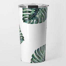 Split Leaf Philodendron Watercolor Travel Mug