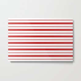 Red and White Candy Cane Stripes Thick and Thin Horizontal Lines, Festive Christmas Metal Print