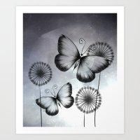 butterflies Art Prints featuring Butterflies by LouJah