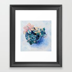 Pastel Succulents - an oil painting on canvas Framed Art Print