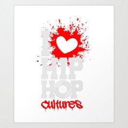 I Love HipHop Culture T-shirt Retro Dance Tee Art Print
