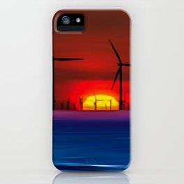 Sunset Wind Farms (Digital Art) iPhone Case
