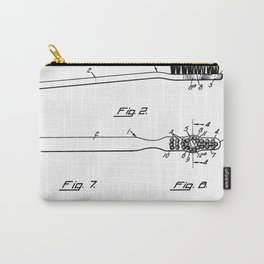 Toothbrush Patent - Bathroom Art - Black And White Carry-All Pouch