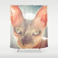 floyd Shower Curtains featuring Floyd The Cat by Alex DZ