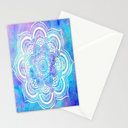 Mandala Pink Lavender Aqua Galaxy Space Stationery Cards