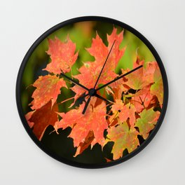 Fall Autumn Maple Leaves Red Orange Autumnal Colors Wall Clock