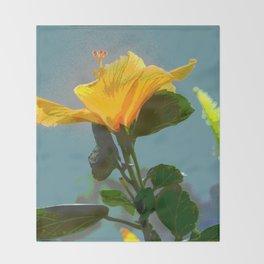 Yellow Orange Hibiscus Flower Throw Blanket
