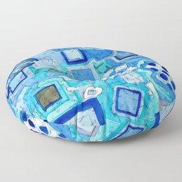Blue Room with Blue Frames Floor Pillow