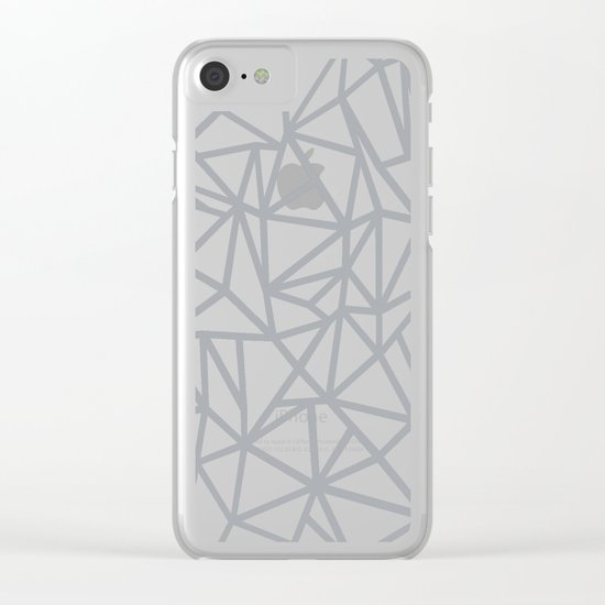Abstract Outline Thick White on Grey Clear iPhone Case