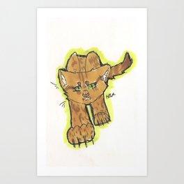 Snarling Cartoon Cat Art Print