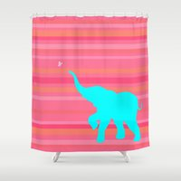baby elephant Shower Curtains featuring Baby Elephant by StudioBlueRoom