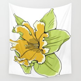 Yellow Daffodil Flower Wall Tapestry