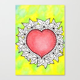 Watercolor Doodle Art | Heart Canvas Print