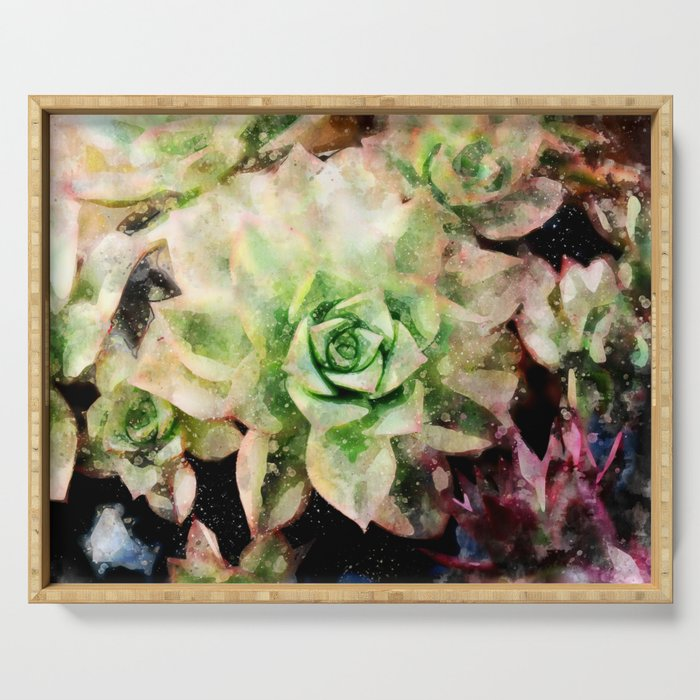 Colorful Succulent Watercolor Serving Tray