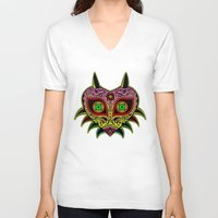 majoras mask V-neck T-shirts featuring Sugarskull / Majoras mask /color by tshirtsz