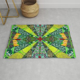 number 238 green on green with red pattern Rug
