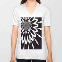 blankets V-neck T-shirts featuring Black & White Modern Flower by 2sweet4words Designs