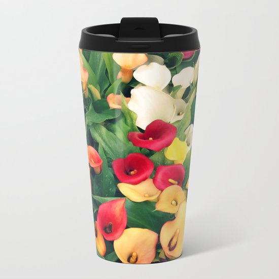Rainbow Calla lily Metal Travel Mug