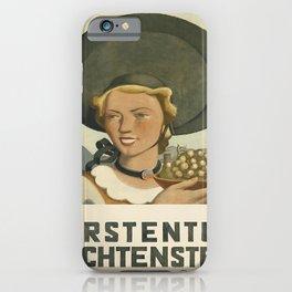 vintage placard fürstentum liechtenstein iPhone Case