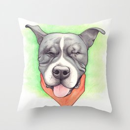 Pitbull - Love is blind - Stevie the wonder dog Throw Pillow