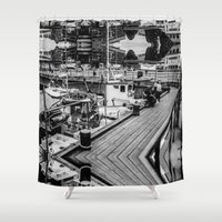 oslo Shower Curtains featuring Oslo Wharf by Sheri Tantawy