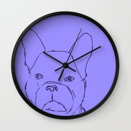 Sketched Frenchie (Blues) Wall Clock