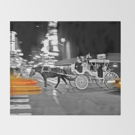 NYC - Yellow Cabs - Horse Carriage Throw Blanket