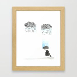 Old lady and the rain Framed Art Print
