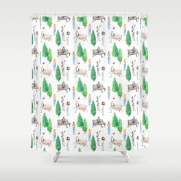 girls in the park pattern Shower Curtain