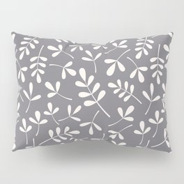 Assorted Leaf Silhouettes Cream on Grey Ptn Pillow Sham