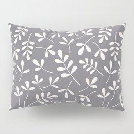 Assorted Leaf Silhouettes Cream on Grey Ptn Pillow Sham