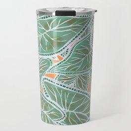 Tropical Caladium Leaves Pattern - Green Travel Mug