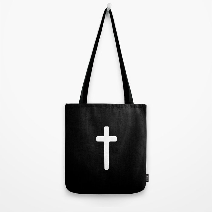 Cross - White Tote Bag