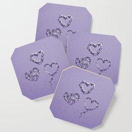 Ultra Violet LOVE Glitter Hearts #1 #shiny #decor #art #society6 Coaster