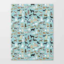 Dogs pattern print must have gifts for dog person mint dog breeds Canvas Print