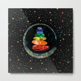 Chakras Zen Stones and Enso circle Metal Print