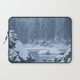 Heavy snow fall lake Fusine, Italy Laptop Sleeve