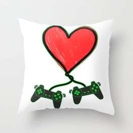 Romantic Video Gamer Heart Controller Funny Throw Pillow