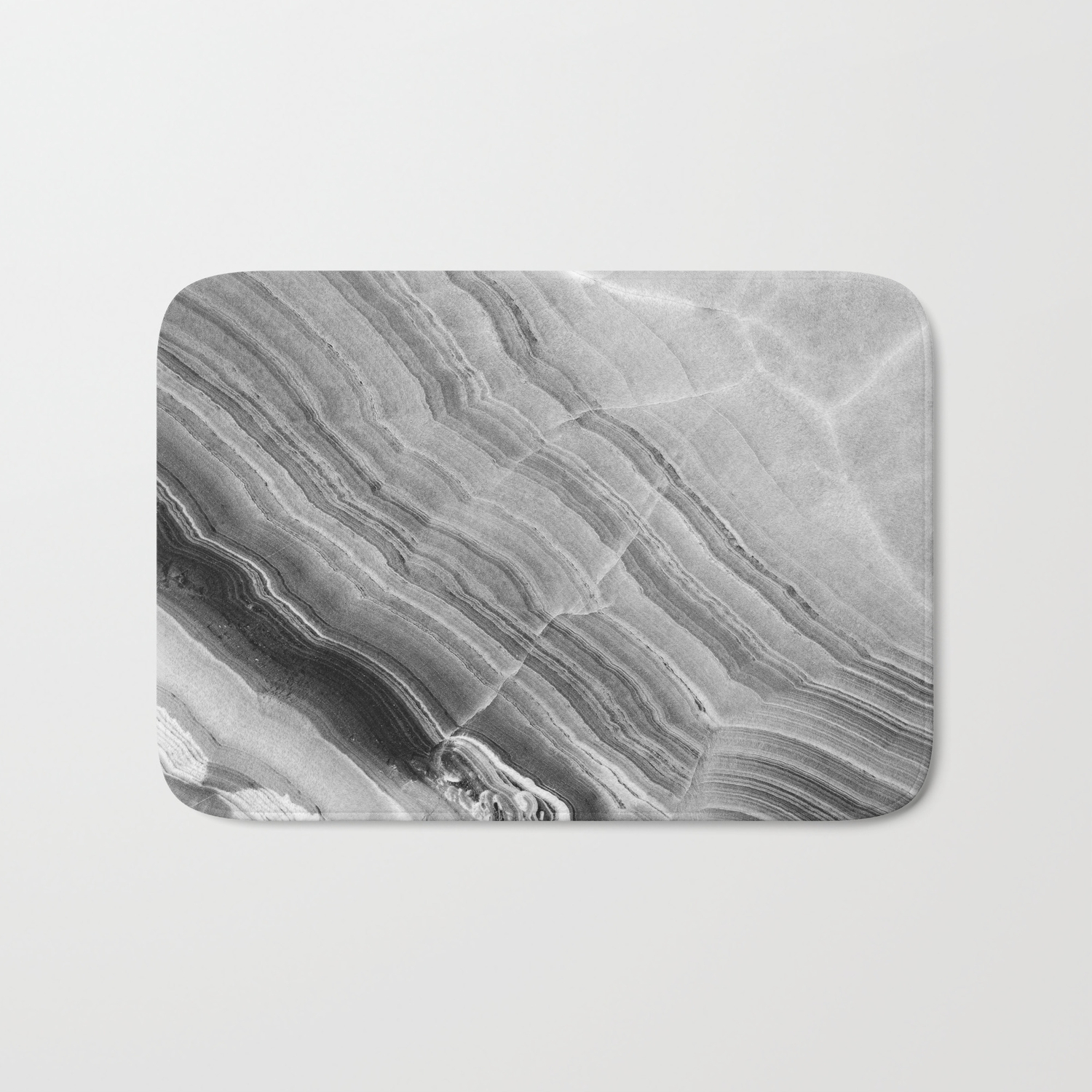 Shades Of Grey Marble Bath Mat By Patternmaker Society6