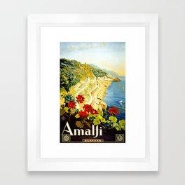 Amalfi Coast, Italy Vintage Travel Poster Framed Art Print