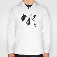 skiing Hoodies featuring Skiing silhouettes by By Myyna